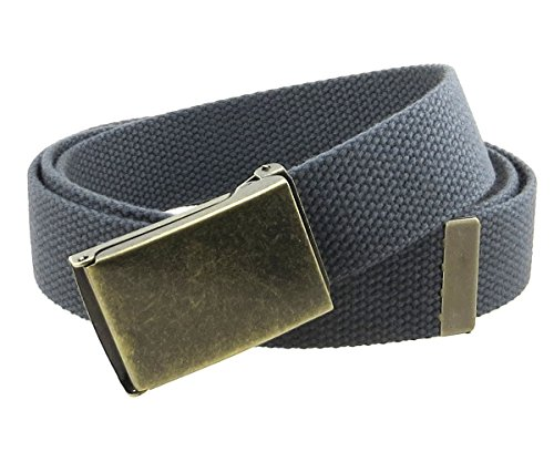 Canvas Web Belt Flip-Top Antique Brass Buckle/Tip Solid Color 50