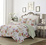 Hedaya Home Fashions Peony Reversible, Contemporary Sketched Floral Pattern, 3-Piece Set with Quilt and Pillow Shams - King