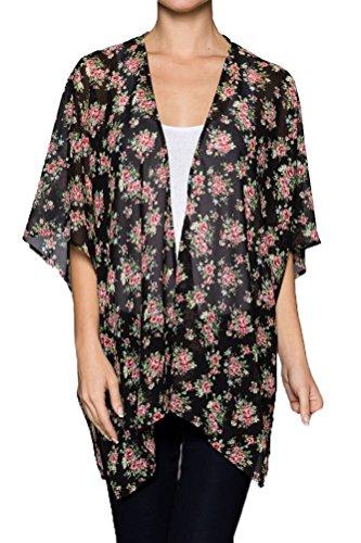TL Women's Floral Print Open Front Sheer Loose Fit Boho Kimono Cardigan Sweater BLACK