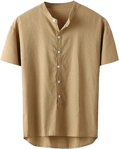Camisas de Algodón y Lino Casual de Verano para Hombres SUNNSEAN Camisetas de Moda Color Liso con Botones Blusa Informal Casual de Manga Corta Tops: Amazon.es: Ropa y accesorios
