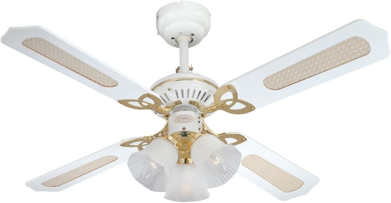 Westinghouse Princess Trio 105 cm/ 42-inches Ceiling Fans, White-White Cane/ White