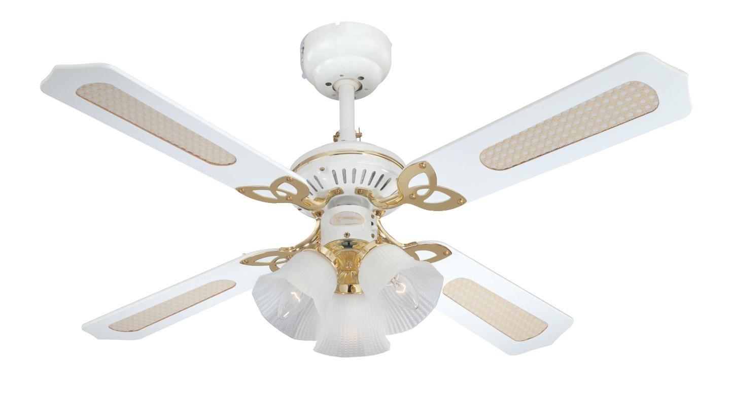 Westinghouse 7832440 Princess Trio Ventilateur de plafond E14 Métal Laiton blanc et poli product image