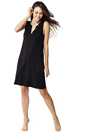 6f5936cd07 Lands' End Women's Cotton Jersey Sleeveless Tunic Dress Swim Cover-up at  Amazon Women's Clothing store: