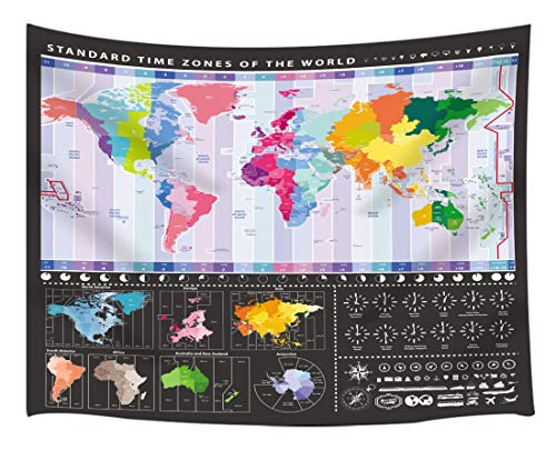 KOTOM World Map Tapestry, Standard Time Zones of World with World Cities, Wall Art Hanging Blankets Home Decor for Bedroom Living Room Dorm, 80x60 Inches (United States Area Codes And Time Zones)