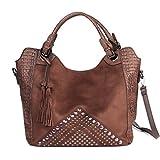 Womens Suede Crocodile Embossed Leather Fashion Purse Designer Handbag Top Handle Hobo Large Tote By Vanillachocolate (Brown)