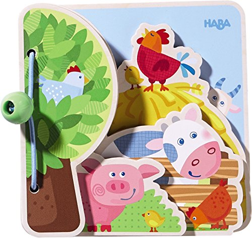 HABA Farm Friends Wooden Book with Easy Turn Pages - Ages...