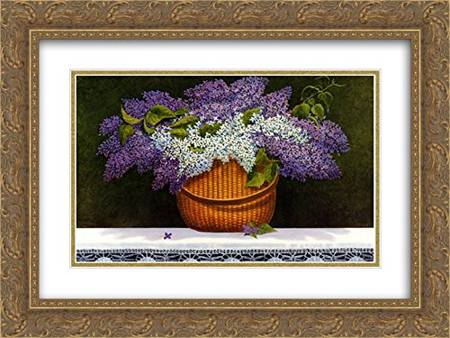 Lilacs of Nantucket 2X Matted 15x18 Gold Ornate Framed Art Print by Robert Duff