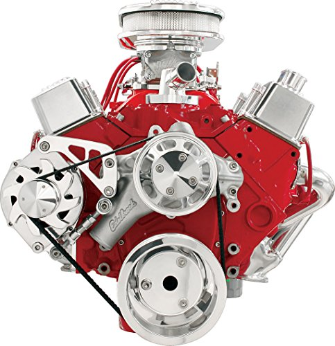 NEW BILLET SPECIALTIES SMALL BLOCK CHEVY POLISHED FRONT ENGINE SERPENTINE CONVERSION KIT WITH MIDDLE PASSENGER-SIDE ALTERNATOR MOUNTING BRACKET, SBC WATER PUMP, CRANK, & ALTERNATOR PULLEYS