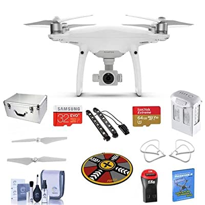 "DJI Phantom 4 Pro+ Basic Kit - Bundle with DJI Aluminum Case, 64/32GB MicroSDXC Card, Spare Battery, Quick-Release Propellers, Propeller Guard, 32"" Collapsible Pad, Polar LED Light Bars, And More"
