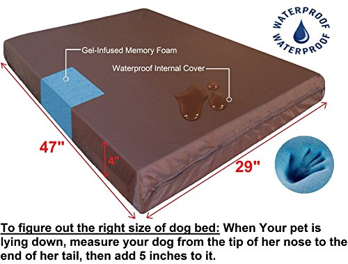 Dogbed4less Premium Orthopedic Memory Foam Dog Bed, Waterproof Liner and Extra Pet Bed Cover, Gel Cooling Extra Large 47X29X4 Pad Fit 48X30 Crate by Dogbed4less (Image #4)
