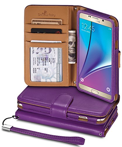 Note 5 Cases, Samsung Galaxy Note 5 [Snow Fairy] Flip Cover Case [Premium Synthetic Leather Wristlet Series][Card Holder][Wallet] - [Leather Fit] Wrist Strap Case SM-920 Purple