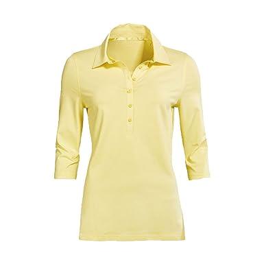 Modisches Damen Polo Shirt mit 3 4 Arm in Navy Blau, Gelb und Weiß mit  grauen Streifen Größen M-XL  Amazon.de  Bekleidung 9af5f3f376