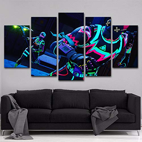 JESC 5 pcs Printed Canvas Print Painting Game Fortnite Poster Battle Royale Home Decoration Wall Art Picture Living Room