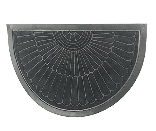 Set of TWO Semi Circle Black Indoor Outdoor Rubber Mat   Sunburst Design   Great for Small Spaces 23