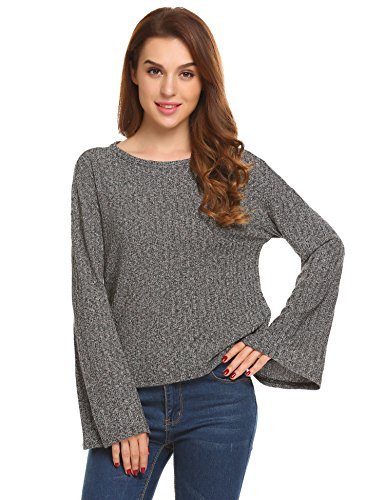 Zeagoo Women's Lightweight Sweater Knit O Neck Pullover With Ribbed Trim Gray (Bell Lightweight Sweater)