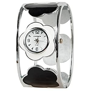 Cute Flower Watch for Women Girls with Transparent Plastic Band and Classic Round Dial.