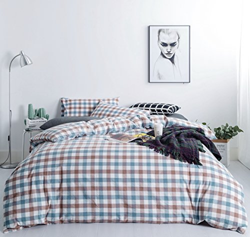 Funky Sheet Sets (SUSYBAO 3 Pieces Duvet Cover Set 100% Natural Washed Cotton Queen Size 1 Duvet Cover 2 Pillowcases-Luxury Quality Comfort Durable Soft Breathable Blue Brown Plaid Gingham Checkered Pattern Zipper Ties)