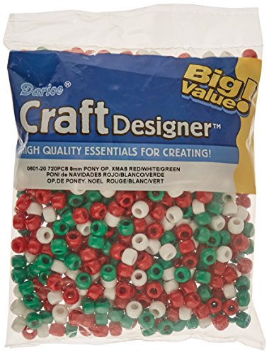 Green Pony Beads - Darice Pony Opaque Xmas Beads (720/ Pack), 6mm by 9mm, Red/White/Green