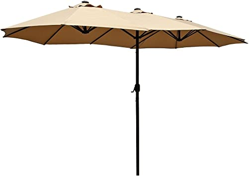 Le Papillon 15 ft Market Outdoor Umbrella Double-Sided Aluminum Table Patio Umbrella with Crank, Beige