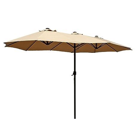 Le Papillon 15 ft Market Outdoor Umbrella Double-Sided Aluminum Table Patio Umbrella with Crank, Beige