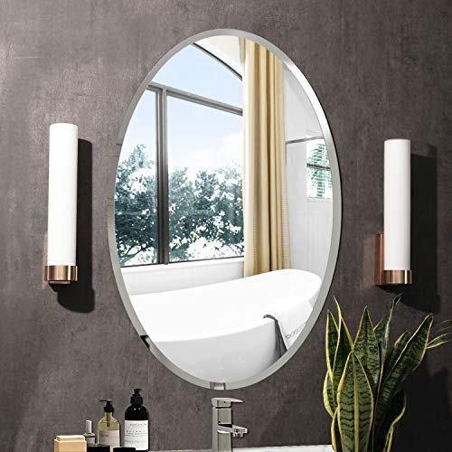 "KOHROS Oval Beveled Polished Frameless Wall Mirror for Bathroom, Vanity, Bedroom (20"" W x 28"" H Oval)"