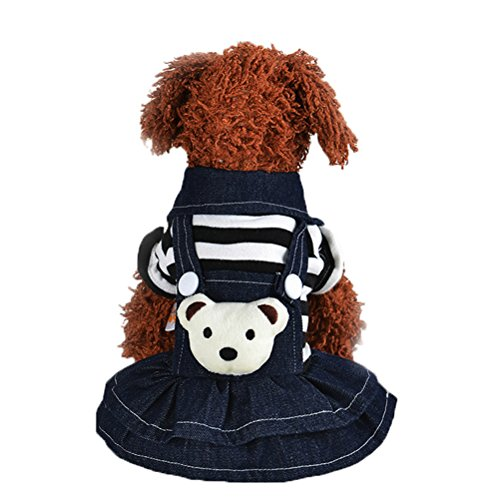 Uniquorn 2016 Winter New Dog Clothing Fashion Cute Striped Bear Strap Trousers Teddy Poodle Warm And Comfortable Dog (Striped Clown Overalls Costume)