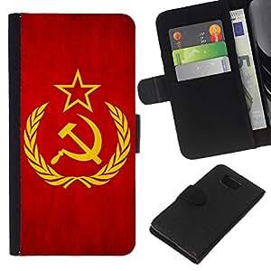 Leather Etui en cuir || Samsung ALPHA G850 || Nación Bandera Nacional País Unión Soviética @XPTECH