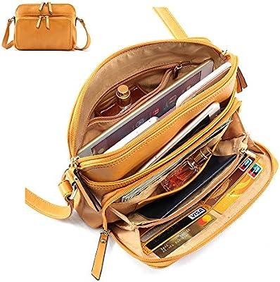 418c922180 Amazon.com  Brenice Women Solid Multi-pockets Casual PU Leather Crossbody  Shoulder Bag Brown  Helresk