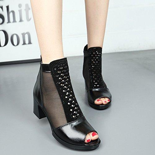 KHSKX-Die Neuen Leder Frauen Sandalen Fisch Mund High-Heeled Schuhe Net Garn Damen Schuhe 40