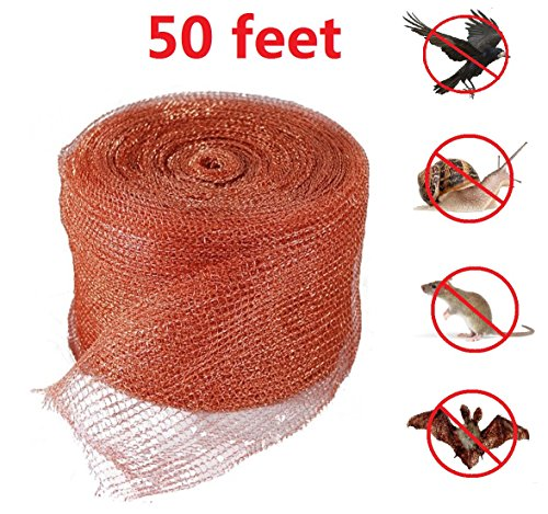 Copper Mesh,for Pest Control,Mouse,Rat,Rodent,Snail,Birds,Bat Control,Mesh Scrubber,Fill Fabric DIY,Gun Barrels Clean,50 Feet(15 Meter),Pure Copper