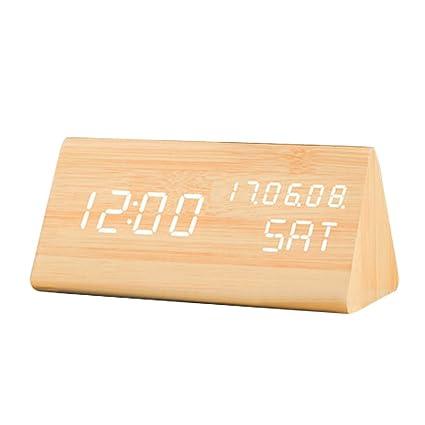 Reloj de Madera LED Despertador Inteligente Activado por voz Innovador luminoso Mudo Calendarios Reloj Digital Despertador