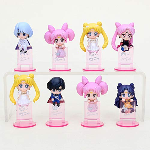 Allegro Huyer 8pcs/Set Sailor Moon chibiusa Chiba Mamoru Princess Serenity Black Lady Mini Moon Tea Cup Decoration PVC Action Figure Toys 5cm OPP Bag