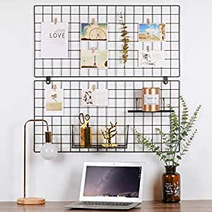 """Kufox Painted Wire Wall Grid Panel, Multifunction Photo Hanging Display and Wall Storage Organizer, Pack of 2, Size 31.5"""" x 15.8"""", Black"""