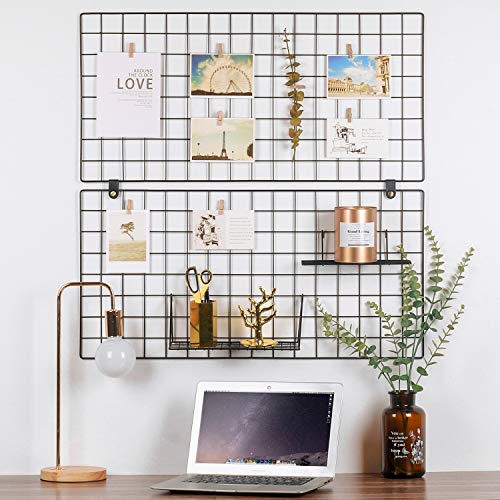 - Kufox Painted Wire Wall Grid Panel, Multifunction Photo Hanging Display and Wall Storage Organizer, Pack of 2, Size 31.5