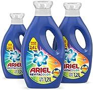 Ariel Revitacolor Detergente Liquido, 3 Unidades de 1.2L c/u, Total 3.6 L
