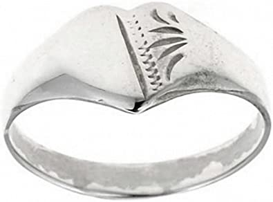 New Sterling Silver Ladies Engraved Heart Signet Ring L-Q