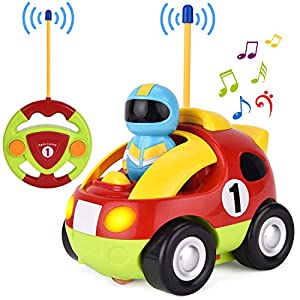 GotechoD Remote Control car, Cartoon RC Race Car with Music and Lights, Radio Control Toy for Baby Toddlers Kids and Children, Perfect for Holiday Birthday Christmas New Year Gifts(Red)