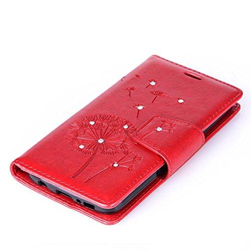 Custodia Galaxy S7 ISAKEN Cover Samsung Galaxy S7 con Strap, Elegante borsa Dente di leone Design in Pelle Sintetica Ecopelle PU Case Cover Protettiva Flip Portafoglio Case Cover Protezione Caso con S Dente di leone : rossa