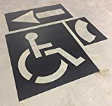 Parking Lot Stencil kit - includes: 39'' Handicap Logo, 42'' Straight & Turn Arrow