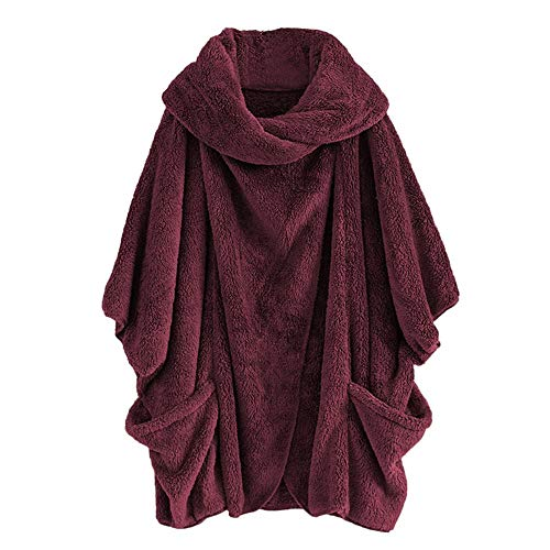 Price comparison product image Clearance! MatureGirl Cloak Women Casual Solid Turtleneck Big Pockets Cloak Coats Vintage Oversize Coats (Red,  2X-Large)