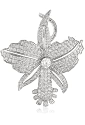 "CZ by Kenneth Jay Lane ""Floral Collection"" 12 cttw Pave Orchid Brooch, 12 CTTW"