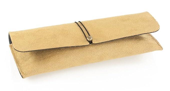 Demel Augenoptik Brillenetui f/ür Damen und Herren Mikrofasertuch Modell: Amarillo Hochwertiges Etui im Wildlederlook mit Gummizug Etui inkl