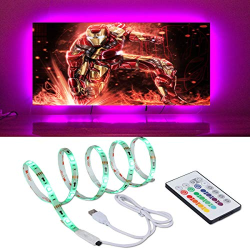 IDIFY LED Backlight Strip for 32 40 46 inches HDTV 6.23ft USB LED Light Strip for TV Back Decor 20 RGB Lights Color Options Dimmable Remote (Best Rated 46 Inch Tv)