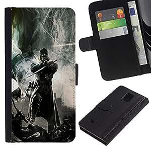 LECELL--Cuero de la tarjeta la carpeta del tirón Smartphone Slots Protección Holder For Samsung Galaxy Note 4 IV -- Guerrero oscuro --