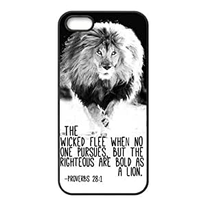 iPhone 5S Protective Case - Bible Verse Proverbs 28:1 Lion Hardshell Carrying Case Cover for iPhone 5 / 5S