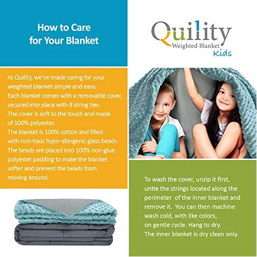 """Quility Premium Kids Weighted Blanket & Removable Cover - 5 lbs - 36""""x48"""" - for a Child Between 40-70 lbs - Single Size Bed - Premium Glass Beads - Cotton/Minky - Grey/Aqua Color 3"""