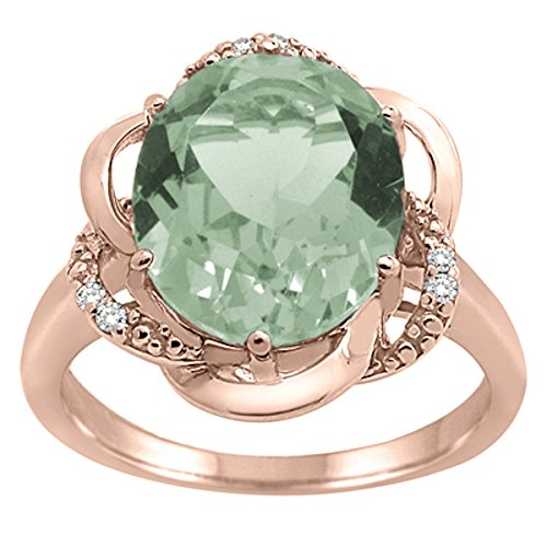 Green Amethyst and Diamond Flower Ring in 10K Rose Gold