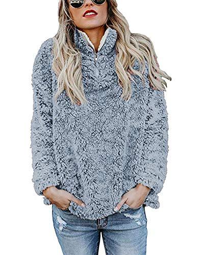 KUFV Women's Zipper Fluffy Sherpa Sweatshirts Soft Fleece Pullover Outwear Coat Blue