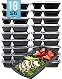 [18 PACK VALUE] MiscHome 2 Compartment Meal Prep Containers | 32 Oz. Two Compartment Food Storage Containers with Lids | BPA Free Bento Boxes | Stackable Meal Prep Containers Two Compartment