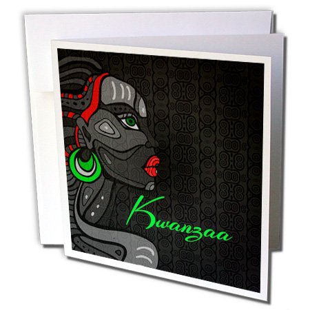 - Doreen Erhardt Kwanzaa - Kwanzaa in Black Red and Green with African American Woman - 1 Greeting Card with envelope (gc_244702_5)